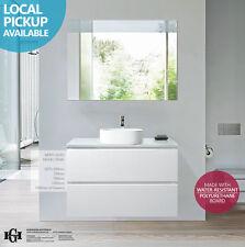 PEARL | 900mm White Gloss Polyurethane Wall Hung/Freestanding Vanity w Stone Top