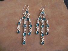 Aquamarine & Sterling Silver .925 Long Chandelier dangle Earrings Taxco Mexico