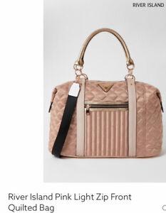 river island pink light pocket front quilted weekend large bag