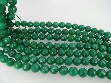Green jade faceted beads. 10mm Christmas green beads. Emerald green beads