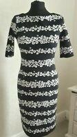 TU Black & White Floral Print Fitted Bodycon Wiggle  Dress 1/2 Sleeve Midi Sz 8