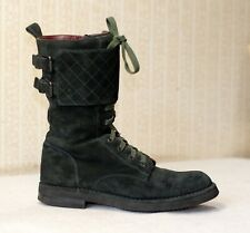 2000$ CHANEL green suede lace up quilted flap combat boots 38.5-38 us7.5-8 uk5.5
