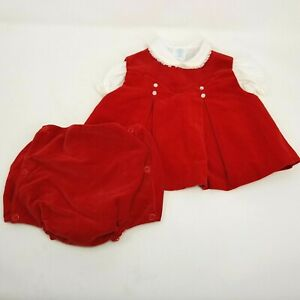Vintage 70s Red Velvet Baby Dress Size 6-12 Months Peter pan Collar Diaper Cover