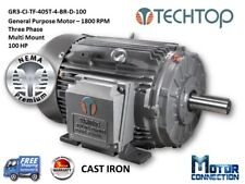 100 HP Electric Motor, GEN PURP, 1800 RPM, 3-Phase, 405T, Cast Iron, NEMA Prem