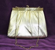Vintage 50s HARRY LEVINE HL USA Gold Lame Rhinestone Gold Tone Evening Bag Purse