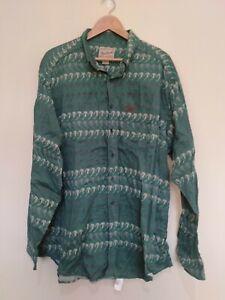 Woolrich Green Ski Print Long Sleeve Button Up Men's Casual Shirt Size 2XL