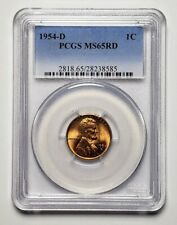 1954 D United States Lincoln Wheat 1 Cent Coin PCGS MS65 Red