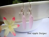 SEA GLASS Periwinkle Pink Dagger Silver Dangle Leverback Earrings