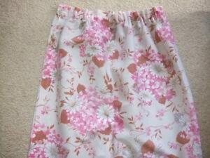 "Vintage retro pair pink floral botanical barkcloth curtains 50"" L 44"" W 70's"