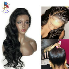 """22"""" Body Wave Pre plucked Front Lace Full Wig W/Baby Hair Bleached Knots Wigs US"""