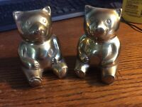 """2 Solid Brass  Bears Solia Made in Korea  approximately 4 1/2"""" tall"""