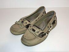 Sperry Top Sider Deck Boat Shoes Slip On Womens Sz 7.5 Cheetah Animal Print Tan