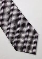 BURBERRY TIE WOVEN SILK STRIPED LILAC PURPLE GREY BLACK CLASSIC DESIGNER MEN
