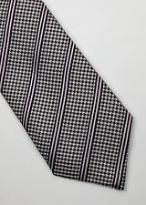 Burberry corbata seda tejida a Rayas Lila Gris Negro Clásico Diseñador Hombres