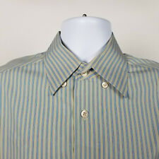 Ermenegildo Zegna Mens Blue Beige Green Striped Dress Button Shirt Size Large L