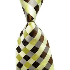 Gents Clobber Classic Mens Woven Grid Check Silk Tie Necktie Brown Cream