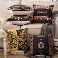 """VINTAGE BLACK GOLD LACE TAPESTRY DECO THROW PILLOW CASE CUSHION COVER 17"""""""
