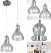NEW Industrial Pendant Light Fixture Seeded Glass Kitchen Island Brushed Nickel
