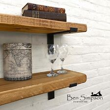 Rustic Shelf Chunky Industrial Handmade Shelves Metal Solid Wood 22cm Depth LB22