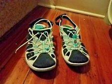 NEW Beach Sandals LANDS END WOMENS Gray and Royal Blue Walking Shoes SIZE 10 B