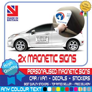 2x PERSONALISED BUSINESS NAME MAGNETIC SIGN Car Van Rear Door Sign Writing Vinyl