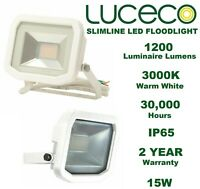 LUCECO Guardian Slimline LED WHITE Floodlight IP65 15W / 3000K / 1200 Lumens UK