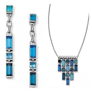 NEW Brighton Moderna Earrings & Necklace Set Blue Crystal Statement NWT