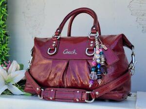 Coach CRIMSON patent leather satchel handbag purse shoulder 15455 convertible