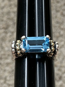 Vintage Lagos Caviar Sterling Silver 18kt Yellow Gold Ring Blue Topaz
