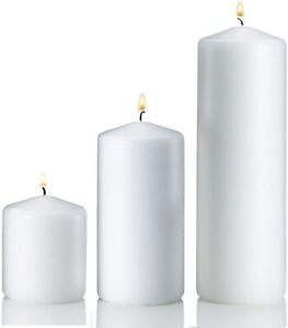 White Wax Pillar Candle Chapel Christmas Flickering Burn Time 39 hr Set