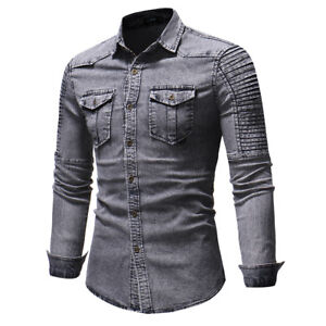 Mens Denim Shirts Long Sleeves Luxury Slim Fit Two Pockets Washed Casual Shirts