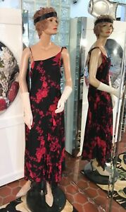 20s DRESS 30s Maxi FLAPPER GATSBY Red Black Flowing Floral LG