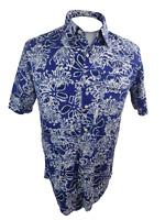 Izod Men Hawaiian ALOHA shirt pit 2 pit 21 S batik purple floral tropical cotton
