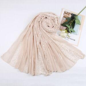 Embroidered Floral Scarf Muslim Ladies Hijab Cotton Shawl Printed Wrap Headscarf