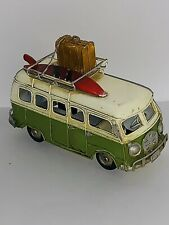 Volkswagen VW 1960's Camper Van Tin Metal Model Desktop Gift Travel Surf Boards