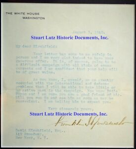FDR signed letter 1940 stating he's not taking part in campaign for 3rd term