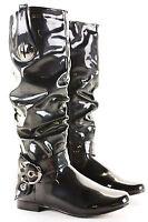 Womens Winter Biker Ladies Slouch Low Flat Heel Calf Leg Knee Walking Boots Size