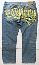 ED HARDY MENS 40X31 EMBROIDER TATTO 0LION SKILL LOOSE BUTTON FLY DENIM BLUE JEAN