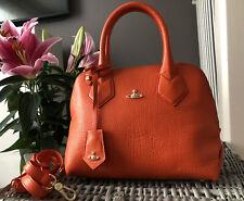 Beautiful Genuine Vivienne Westwood Balmoral Orange Leather Dome Tote Bag