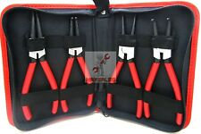 "4pcs Heavy Duty 7"" Circlip Plier Snap Ring Plier External Internal Kit W/ Pouch"