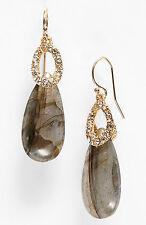 Stone/Swarovski Teardrop Drop Earrings New Alexis Bittar Elements labradorite