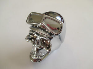 CHROME BIKER SKULL GEAR SHIFT KNOB METAL HOTROD RATROD HOLDEN CHEV FORD CUSTOM