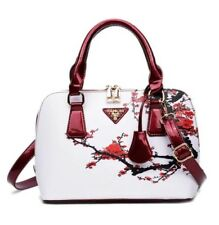 Red & White Cherry Blossom Print Purse Handbag w/adjustable removable Strap