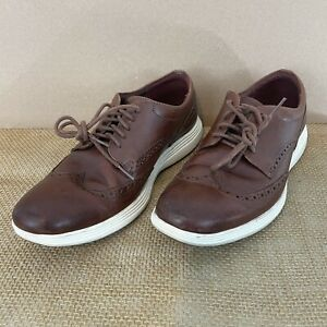Cole Haan Grand OS 29414 Mens 9.5 Brown Leather Brogue NonSlip Wingtip Shoes