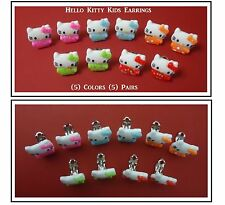 Kitty Clip On Earrings (5) Pairs 5 Different Colors Dress Up Kids Jewelry Gifts