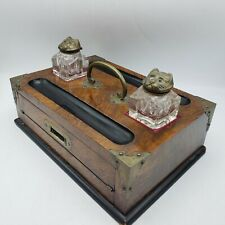 Vintage Folding Writing Travel Desk with Double Cat Face Inkwells