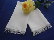 2 Vintage White Damask Guest Towels Acanthus Pattern & Tatted Trim