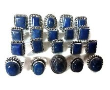 Wholesale Lot !! 100 PCs. LAPIS LAZULI Gemstone 925 Sterling Silver Plated Ring