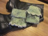 Boot Cuffs Toppers Green Moss Tweed Scalloped Straight Edge Fuzzy Hand Knit New