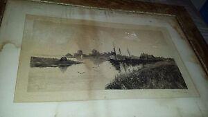 19c L.K.HARLOW-PENMAN-c.KLACKNER NY/MA waterfront 1887 pencil signed ETCHING-art